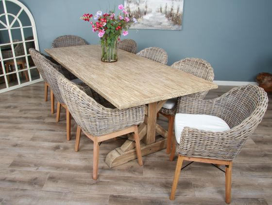 2.4m Reclaimed Pine Cross Dining Table with 8 Scandi Armchairs