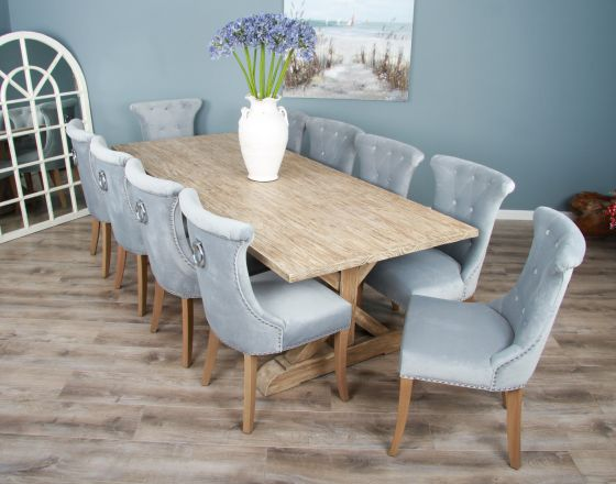 2.4m Reclaimed Pine Cross Dining Table with 10 Windsor Ring Back Chairs