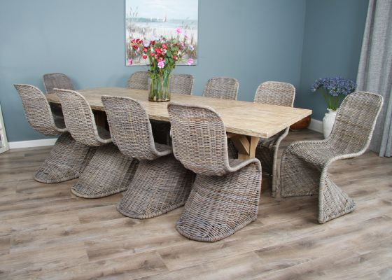 2.4m Reclaimed Pine Cross Dining Table with 10 Zorro Chairs