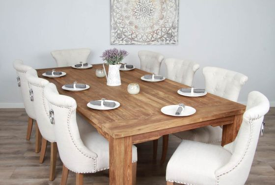 2.4m Reclaimed Teak Taplock Dining Table with 8 Natural Windsor Dining Chairs