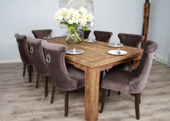 2.4m Reclaimed Teak Taplock Dining Table with 8 Velveteen Dining Chairs