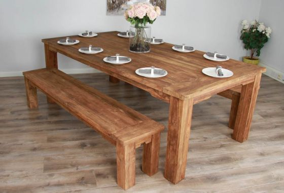 2.4m Reclaimed Teak Taplock Dining Table with Two Dining Benches