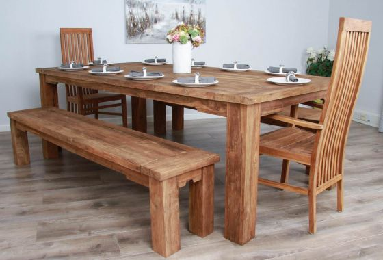 2.4m Reclaimed Teak Taplock Dining Table with Two Benches and Vikka Armchairs