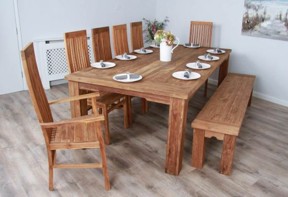2.4m Reclaimed Teak Taplock Dining Table with 6 Vikka Chairs and Teak Dining Bench