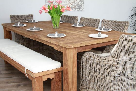 2.4m Teak Taplock Dining Table with 5 Wicker Donna Armchairs and Teak Dining Bench