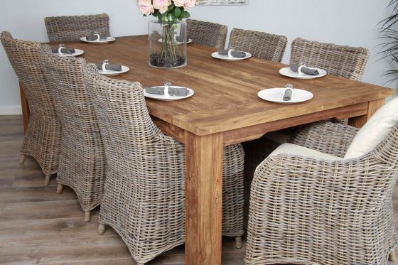 2.4m Reclaimed Teak Taplock Dining Table with 8 Wicker Donna Armchairs