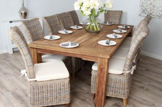 2.4m Reclaimed Teak Taplock Dining Table with 10 Kubu Wicker Latifa Chairs