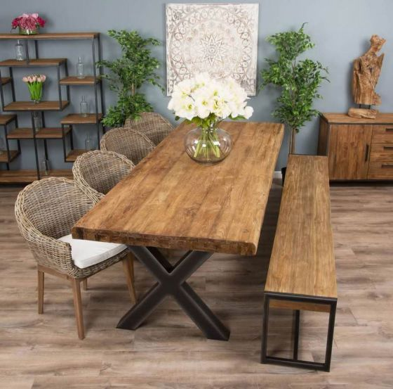 3m Reclaimed Teak Urban Fusion Cross Dining Table with One Backless Bench and Four or Six Scandi Armchairs