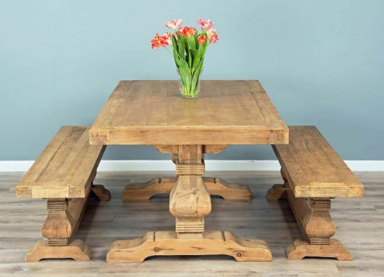 2m Reclaimed Elm Pedestal Dining Table with Two 1.8m Backless Benches