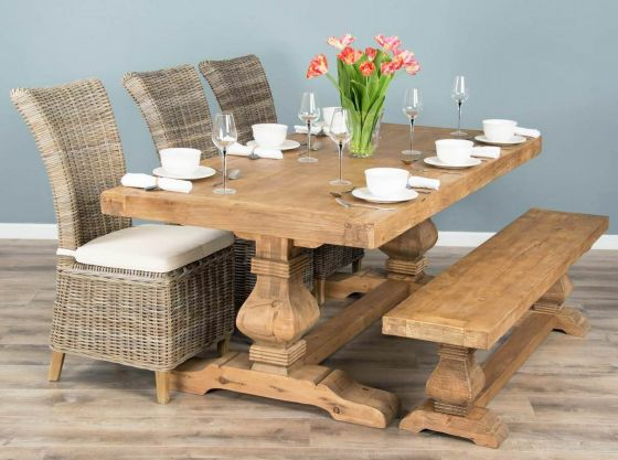 2m Reclaimed Elm Pedestal Dining Table with 3 Latifa Chairs and 1 Backless Bench
