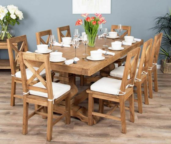 2m Reclaimed Elm Pedestal Dining Table with 8 Elm Crossback Chairs