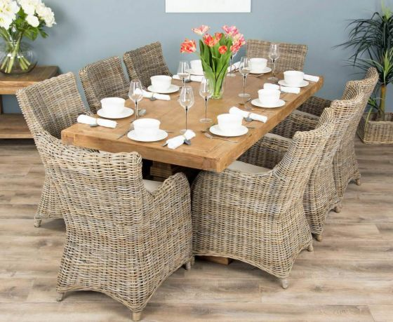 2m Reclaimed Elm Pedestal Dining Table with 8 Donna Armchairs