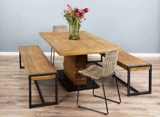 2m Reclaimed Teak Urban Fusion Pedestal Dining Table with Two Backless Benches and Two Urban Fusion Kubu Wicker Dining Chairs