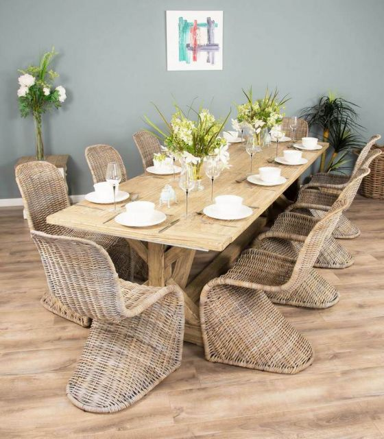 3m Reclaimed Pine Cross Dining Table with 10 or 12 Stackable Zorro Chairs