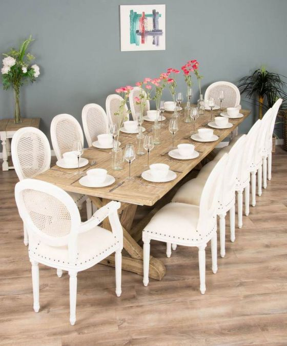 3m Reclaimed Pine Cross Dining Table with 10 Ellena Chairs and 2 Ellena Armchairs