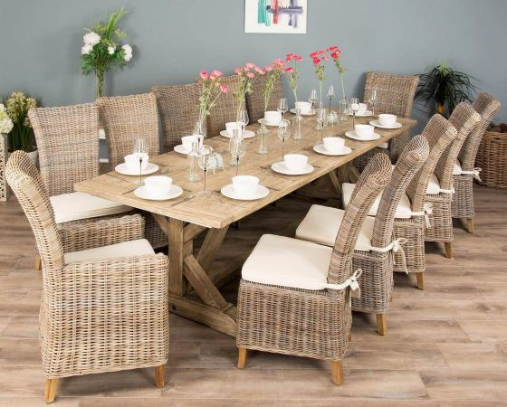 3m Reclaimed Pine Cross Dining Table with 10 Latifa Chairs and 2 Latifa Armchairs