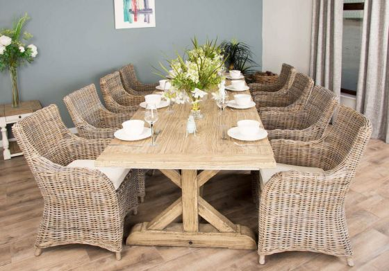 3m Reclaimed Pine Cross Dining Table with 8 or 10 Donna Armchairs