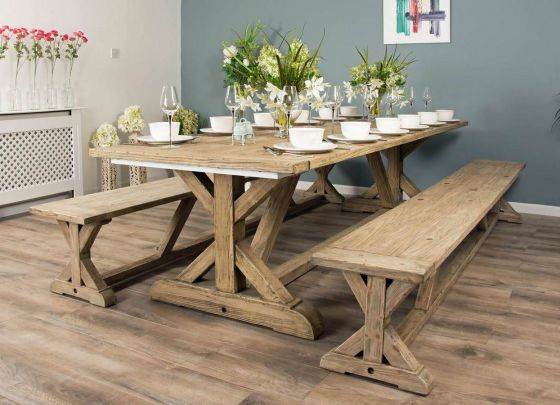 3m Reclaimed Pine Cross Table with 2 Backless Benches
