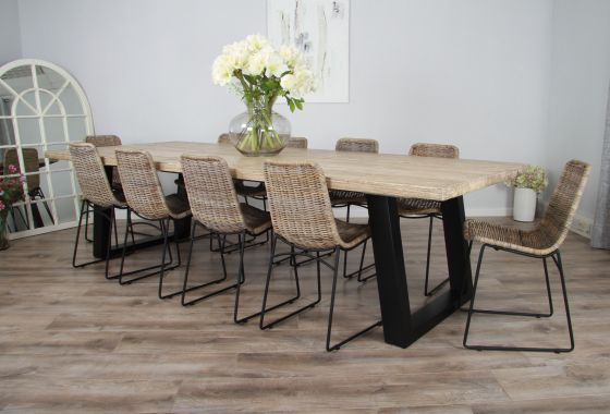 3m Reclaimed Pine Industrial Chic Cubex Table with Black Legs and 10 Urban Fusion Chair