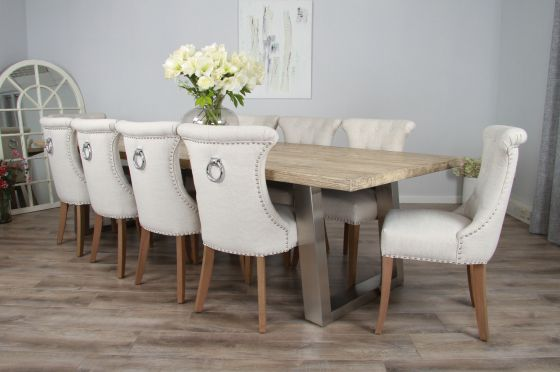 3m Reclaimed Pine Industrial Chic Cubex Table with Stainless Steel Legs and 10 Natural Windsor Chairs