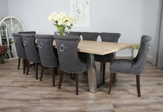 3m Reclaimed Pine Industrial Chic Cubex Table with Stainless Steel Legs and 10 Grey Windsor Chairs