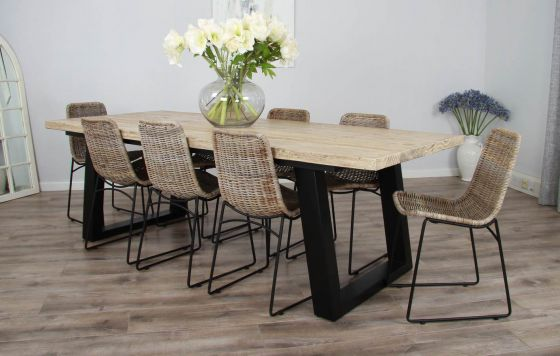 2.4m Reclaimed Pine Industrial Chic Cubex Table with Black Legs and Urban Fusion Dining Chairs