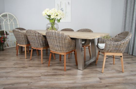 3m Reclaimed Pine Industrial Chic Cubex Table with Stainless Steel Legs and 8 Scandi Armchairs