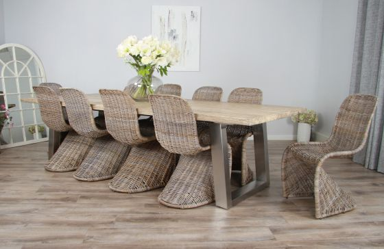 3m Reclaimed Pine Industrial Chic Cubex Table with Stainless Steel and 10 Zorro Chairs