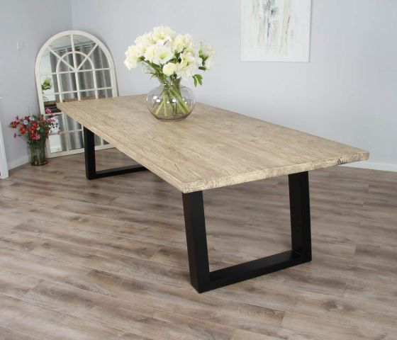 3m Reclaimed Pine Industrial Chic Cubex Table -  Black Legs