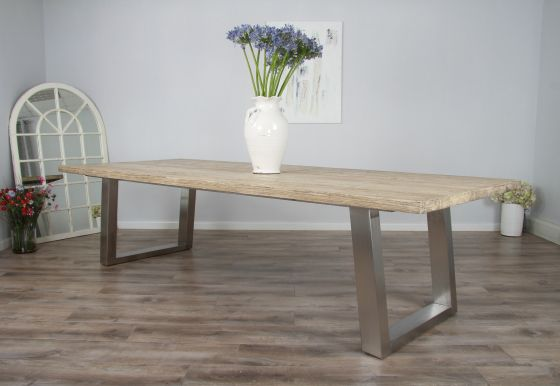 3m Reclaimed Pine Industrial Chic Cubex Table - Stainless Steel Legs