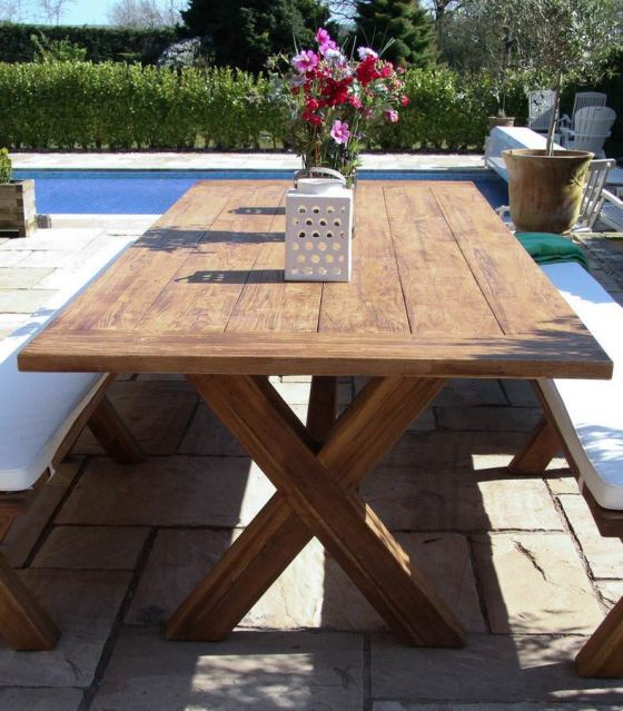 3m Reclaimed Teak Cross Leg Outdoor Dining Table