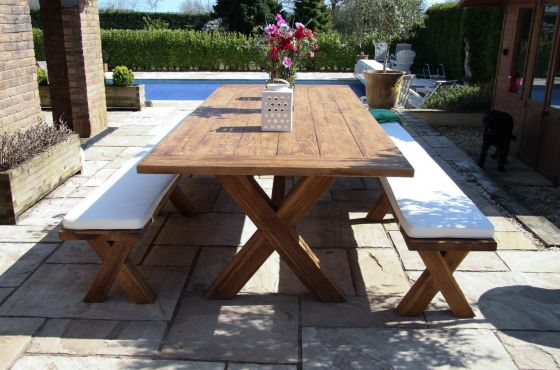 3m Reclaimed Teak Cross Leg Outdoor Dining Table with 2 Backless Benches
