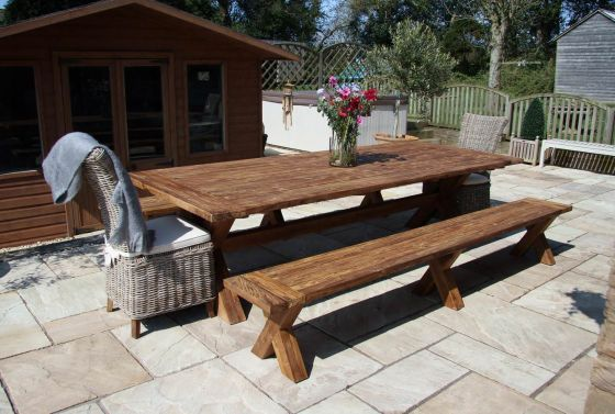 3m Reclaimed Teak Cross Leg Outdoor Dining Table with 2 Backless Benches and 2 Latifa Chairs