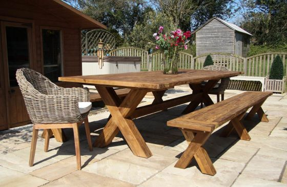3m Reclaimed Teak Cross Leg Outdoor Dining Table with 2 Backless Benches and 2 Scandi Armchairs