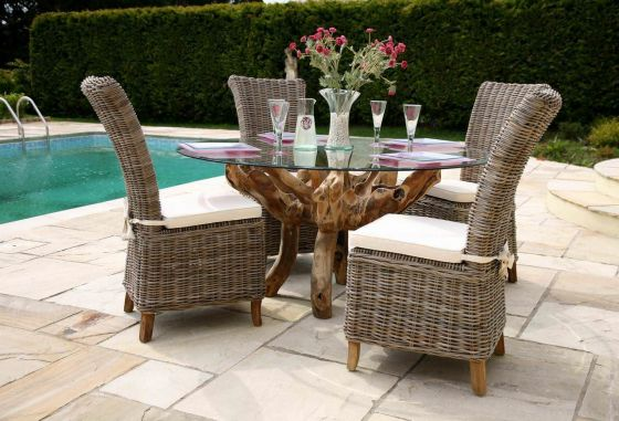 1.5m Reclaimed Teak Root Garden Dining Table with 4 Latifa Dining Chairs