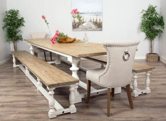 3.6m Reclaimed Pine Ellena Dining Table with Two Backless Benches and Two Natural Windsor Dining Chairs