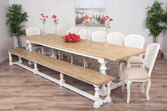 3.6m Reclaimed Pine Ellena Dining Table with Matching Ellena Dining Bench and Eight Murano Dining Chairs