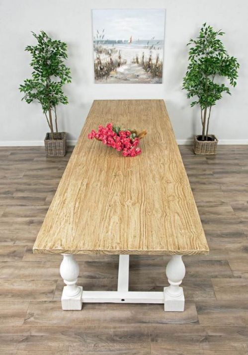 3.6m Reclaimed Pine Ellena Dining Table with Eight Zorro Wicker Chairs and Ellena Dining Bench