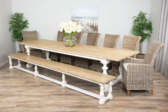 3.6m Reclaimed Pine Ellena Dining Table with 1 Backless Bench, 5 Latifa Chairs & 2 Armchairs