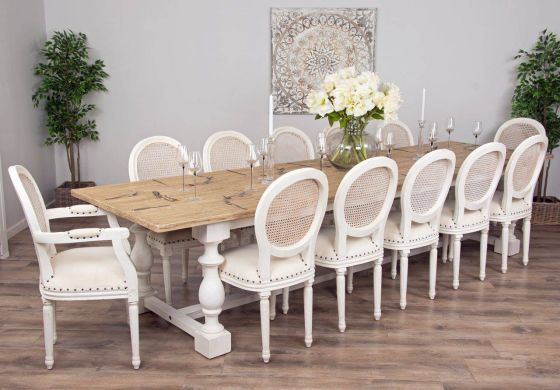 3.6m Reclaimed Pine Ellena Dining Table with 10 Ellena Chairs and 2 Armchairs