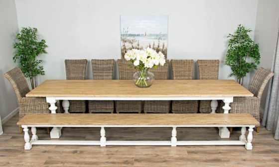 3.6m Reclaimed Pine Ellena Dining Table with One Backless Bench and Six Latifa Dining Chairs