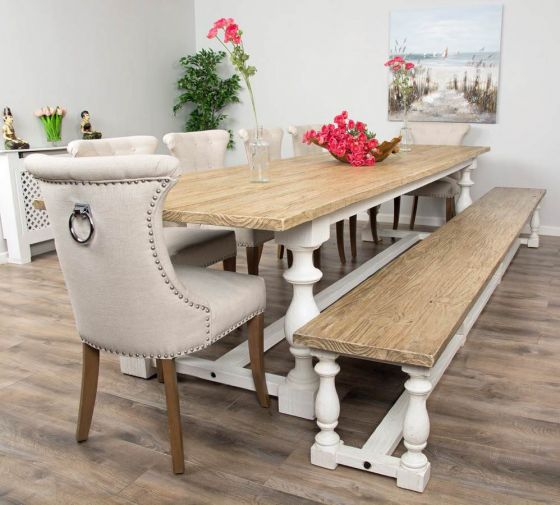 3.6m Reclaimed Pine Ellena Dining Table with Six Natural Ring Back Dining Chairs and Ellena Dining Bench