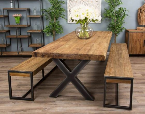 3m Reclaimed Teak Urban Fusion Cross Dining Table with 2 Backless Benches - With or Without 2 Scandi Armchairs