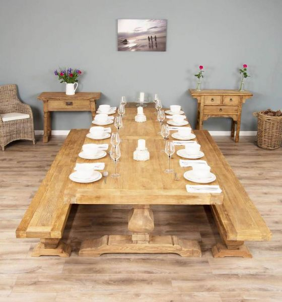 3m Reclaimed Elm Pedestal Dining Table with 2 Benches