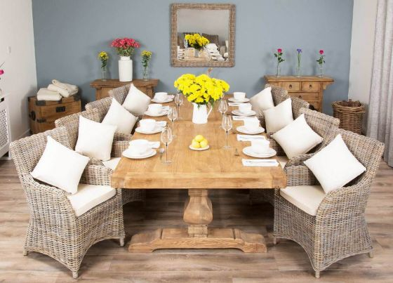 3m Reclaimed Elm Pedestal Dining Table with 8 Donna Chairs