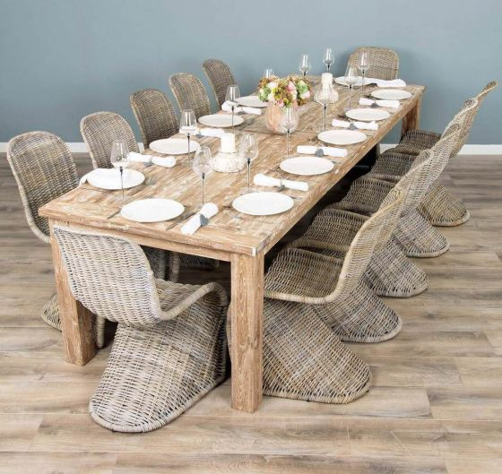 3m Mexico Reclaimed Teak Dining Table with 12 Stackable Zorro Chairs