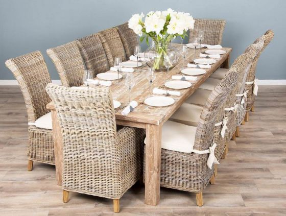 3m Mexico Reclaimed Teak Dining Table with 8 or 10 Latifa Chairs and 2 Armchairs