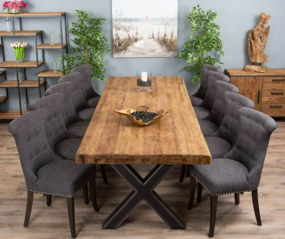 3m Reclaimed Teak Urban Fusion Cross Dining Table with Ten Dove Grey Windsor Ring Back Dining Chairs