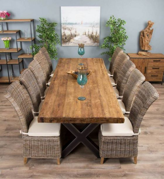 3m Reclaimed Teak Urban Fusion Cross Dining Table with Ten Latifa Dining Chairs