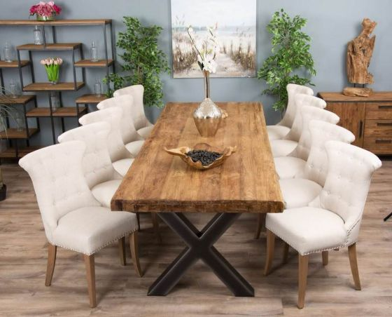 3m Reclaimed Teak Urban Fusion Cross Dining Table with Ten Natural Windsor Ring Back Dining Chairs